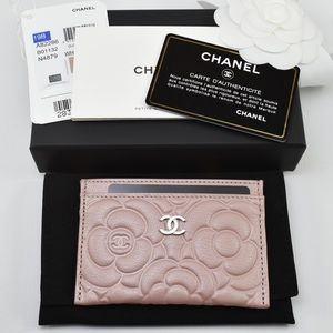 🌸 CHANEL Camellia O Card Holder Goatskin NEW